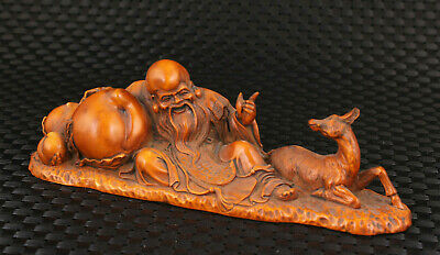collect Chinese old boxwood handmade god of longevity statue home decoration