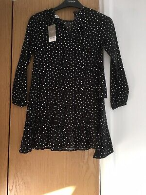 Girls 'Next' Dress Black With White Spots For Age 8 With Tags