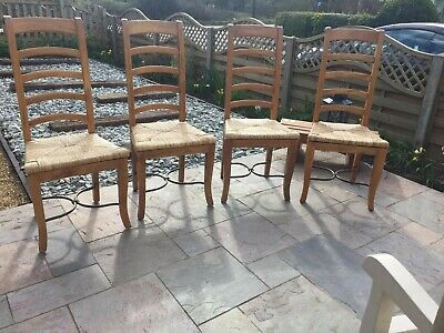 Oak dining chairs with rush seagrass seats