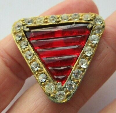 Brilliant LARGE Antique~ Vtg Ruby Red GLASS in Metal BUTTON w/ Paste Rim (Z)