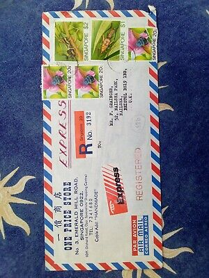 Envelope Cover Postal History Singapore Reg Express Air Mail 1986 Used
