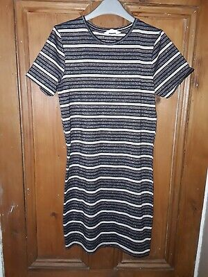 Girls Matalan Stylish Pink Blue White Striped Sparkly Dress Age 13 Years