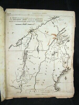 1807 REVOLUTIONARY WAR MAP OF THE MOVEMENT OF NORTHERN armies by C.P. Wayne