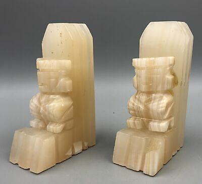 Vintage Bookends White Alabaster Stone White Aztec Marble Hand Carved