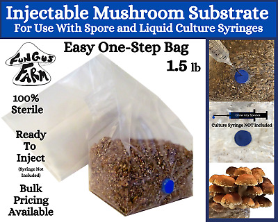One-Step Mushroom Grow Bag   1.5 lb Direct From Injection Mushroom Substrate