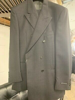 New 42L Double Breasted Men's Grey Suit 100% Wool Made in Italy Ret/$1295