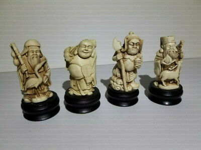 Four (4) Vintage Small Asian Chinese Emperor Old Man Figurines on Black Bases