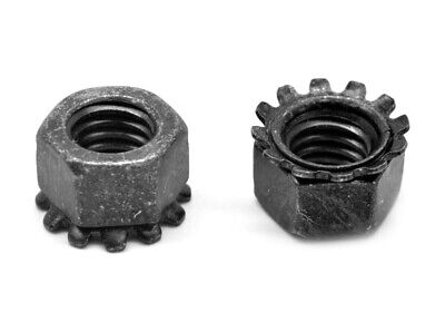 #10-32 Fine KEPS Nut / Star Nut with External Tooth Lockwasher Stl Black Zinc