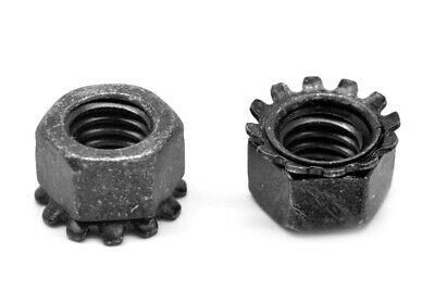 1/4-20 Coarse KEPS Nut / Star Nut with External Tooth Lockwasher Stl Black Zinc