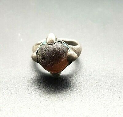 Medieval Viking Era Ca.700-900 Ad Silver Ring With Glass Stone