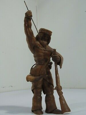 Antique Hand Carved Wood Mt. Mountain Man Long Hunter Fur Trade