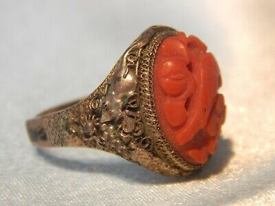 Antique Chinese Export Silver & Coral Adjustable Ring Filigree Bird & Rat