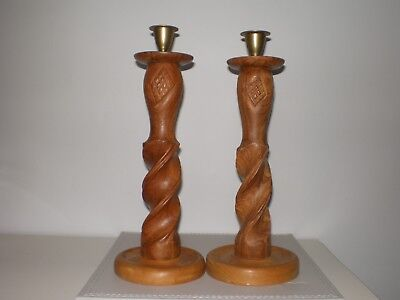 Pair of Vintage Hand Made Arts & Crafts Wooden Candle Sticks with Brass Holders