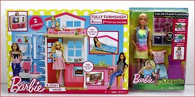 LOT 2- Barbie 4 Rooms 2 STORY HOUSE & Furniture + Color-In Fashion Blond Doll