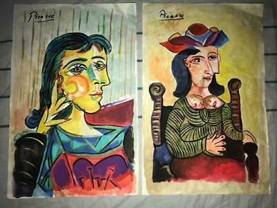 Vintage Lot 2 Pablo Picasso Watercolor Drawing on Rare Signes paper