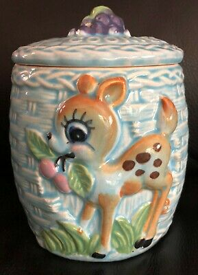 Vintage Bambi / Novelty (Japan) Ceramic Cookie Jar With Lid - Vgc