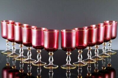 Quality Set 12 Vintage Murano Venetian Cranberry Glass Red Wine Glasses Goblets