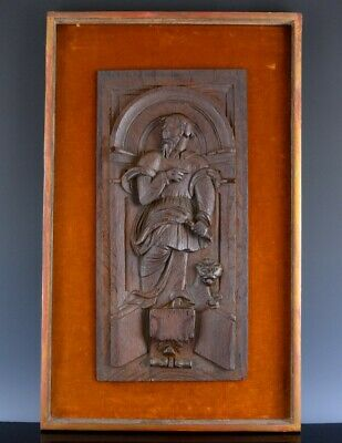 FINE 17/18th CENTURY CARVED SOLID OAK FIGURAL PLAQUE FROM CHURCH OR CUPBOARD #1