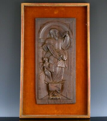 FINE 17/18th CENTURY CARVED SOLID OAK FIGURAL PLAQUE FROM CHURCH OR CUPBOARD #2
