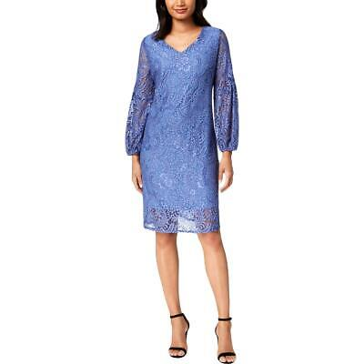 NY Collection Womens Blue Lace Bell Sleeves Party Dress Petites PM BHFO 2278