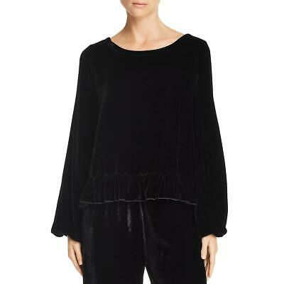 Chaser Womens Black Velvet Ruffled Dressy Top Blouse L BHFO 3871