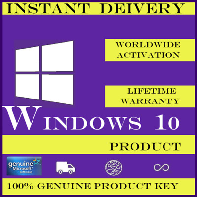MS Windows 10 Pro Professional 32/64bit Genuine License Key Product