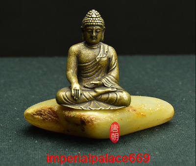 old China antique Pure copper solid Amitabha Buddha statue h1576