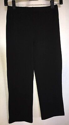 Women With Control XS Black Crop Knit Pull-On Pants Stretch Cotton