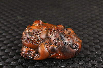 chinese old boxwood hand carved kirin statue figure collectable netsuke