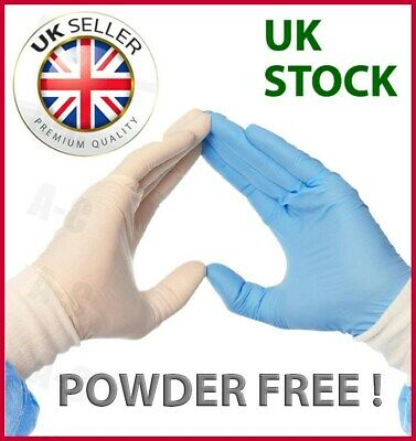 100 Disposable Clear / Blue Vinyl or Latex Gloves - POWDER FREE - Food, Medical