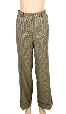 Lauren by Ralph Lauren Women's Pants Beige Size 4 Wide-Leg Checked $145 #266