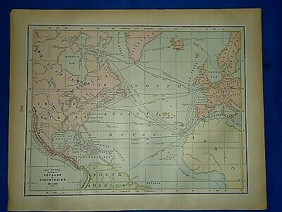 Vintage 1894 MAP ~ EARLY VOYAGES & DISCOVERIES ~ Old Antique Original