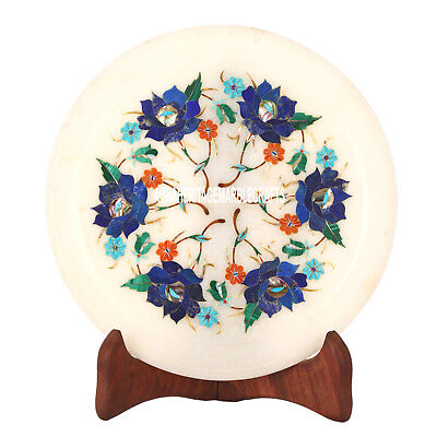7'' Marble Plate Lapis Malachite Hakik Turquoise Inlay Floral Design Gift H3582