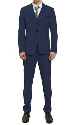 MAGE MALE Mens Suit Set Blue Size Large L 3 Piece One-Button Blazer $120 #090