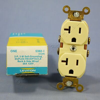 New Leviton Ivory INDUSTRIAL Receptacle SLIM Body Duplex Outlet 5-20 20A 5362-SI