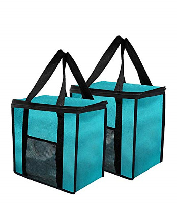 2PK Insulated Grocery Bag Extra Large Reusable Heavy Duty Nylon with Mesh Pocket