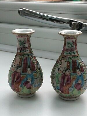 chinese porcelain canton famille rose miniature vases 19th c