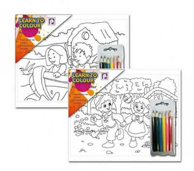 Learn to Colour with 6 Colouring Pencils Pictures with Outline colour sets