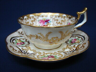 Antique Cauldon Hand Painted Gold Encrusted Cup & Crescent Saucer Flower Sprays