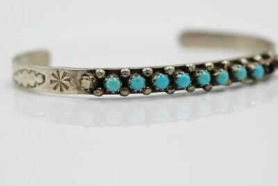 Beautiful Vintage Old Pawn Sterling Silver Turquoise Cuff Bracelet -Missing 2