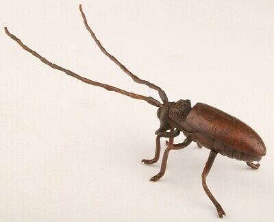 Unique Chinese Red Copper Hand-Cast Beetle Statue Auspiciou Gift Collection