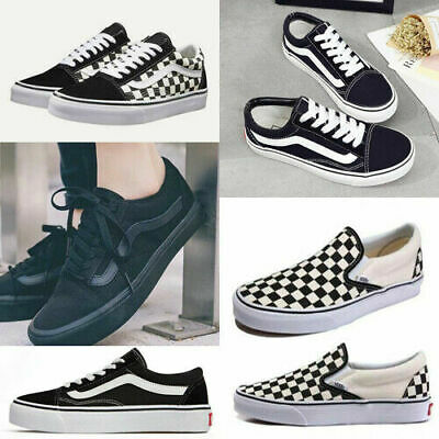 MENS WOMENS VAN Classic Skate Lace-up Low Top Canvas Sneakers Trainer Shoes UK 7