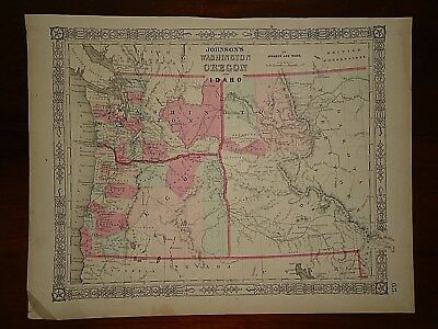 Vintage 1864 WASHINGTON - IDAHO TERRITORY  MAP Old Antique Original Atlas Map 24