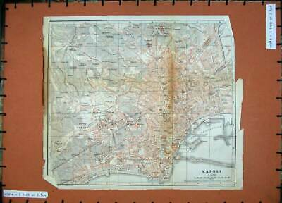 Old Antique Print 1912 Colour Map Italy Street Plan Napoli Castel Elino 20th