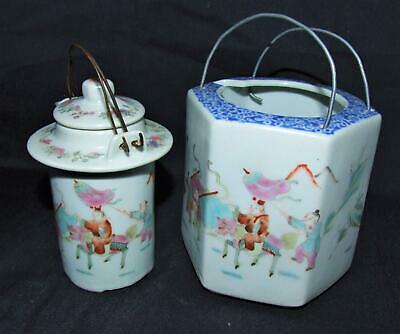 Antique CHINESE PORCELAIN Teapot Wine Warmer FAMILLE ROSE Blue and White FIGURES