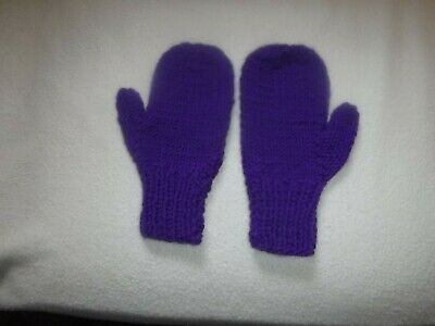 Hand Knit Acrylic Mittens - Purple - Small Adult/Large Child -  New