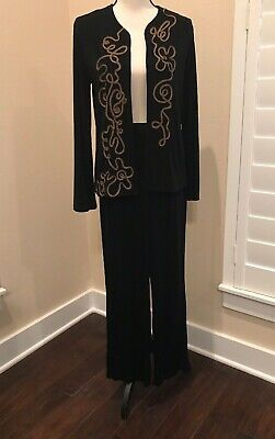 NWT Chico's Travelers Slinky Black Pants And Cardigan 2 Piece Set Size 0 (small)