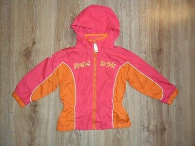 Girls REEBOK Pink/Orange Lightweight Zipped Hooded Jacket Size Age 3 Years