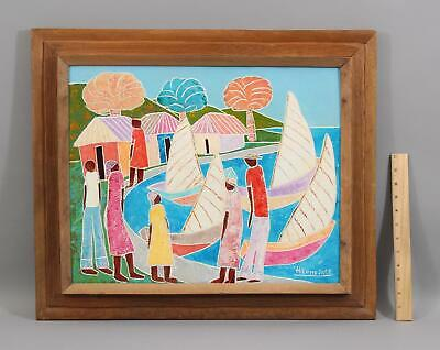 1970s Vintage HILOME JOSE Haiti Haitian Waterfront Oil Painting w/ Sailboats NR