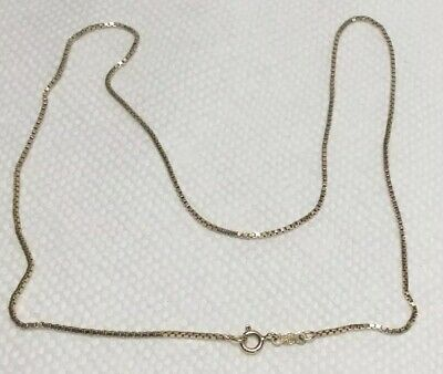 Vintage Hn Gold Over Sterling Silver Box Chain Necklace 18""